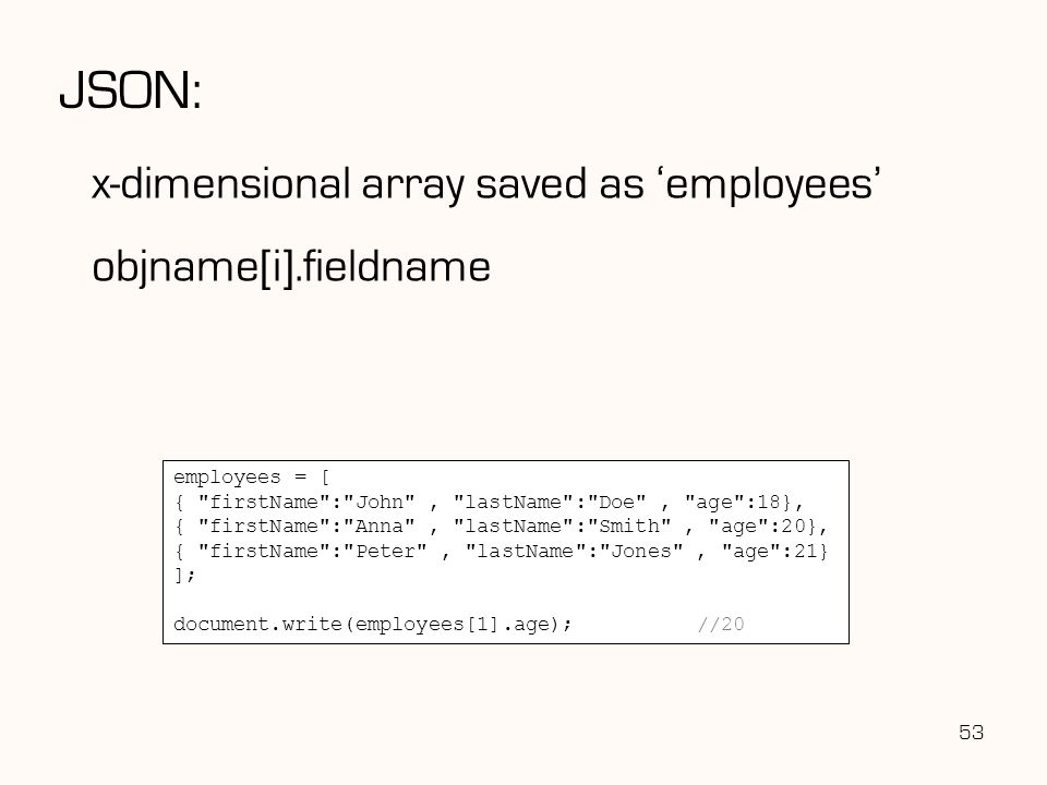 JSON: x-dimensional array saved as 'employees' objname[i].fieldname